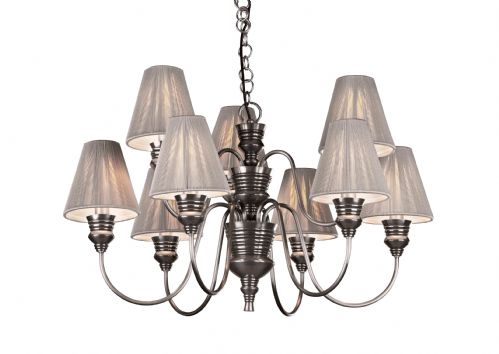 Dar Doreen 9 Light Pendant Pewter complete with String Shades DOR1367